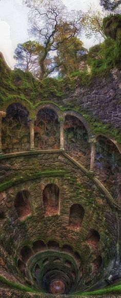 The Iniciatic Well,Regaleira Estate, Sintra, Portugal Aaand.adding Portugal to my list of places to visit! Places Around The World, Oh The Places You'll Go, Places To Travel, Places To Visit, Around The Worlds, Travel Destinations, Dark Places, Spain And Portugal, Sintra Portugal