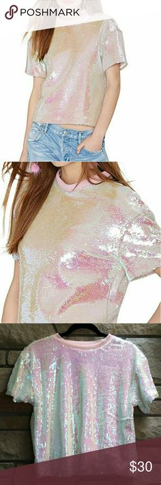 Pink holographic sequin cropped sweater Gorgeous new with tags haoduoyi holographic pastel pink cropped sweater. So soft and we'll made. This is an Asian xxl but fits like a large to xl. Forever 21 Tops