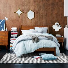Buy Acorn west elm Mid-Century Bed Frame, King Size, FSC Certified (Eucalyptus) from our Beds range at John Lewis & Partners. Free Delivery on orders over Bedroom Furniture, Modern Furniture, Brown Furniture, Furniture Ideas, West Elm Bedding, Blue Bedding, Blue Bedroom, Bedroom Bed, Modern Bedroom