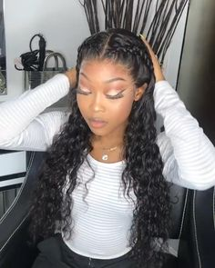 Elva Hair Water Wave Brazilian Remy Hair 130 Density Lace Frontal Wigs Pre Plucked With Baby Hair Swiss Half Braided Hairstyles, Big Box Braids Hairstyles, Curly Hair Braids, Frontal Hairstyles, Braided Hairstyles For Black Women, Wedding Hairstyles, Lace Front Wigs, Lace Wigs, Braided Half Up Half Down Hair
