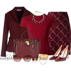 A fashion look from December 2014 featuring short sleeve tops, red peplum blazer and purple skirt. Browse and shop related looks.