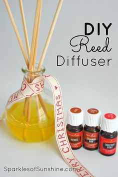 This DIY Reed Diffuser only requires a few supplies to create and will keep your home smelling like Christmas throughout the holiday season. via @christieselken