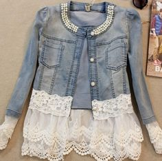 Women's Patchwork Blue Lace / Denim Jacket,Plus Size / Vintage