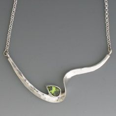 Twist Necklace in Sterling with Peridot