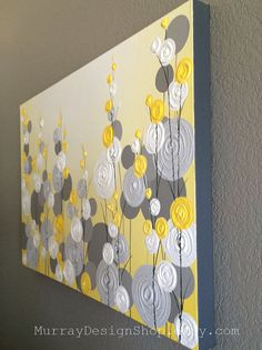 Yellow Gray and White Textured Flower Art by MurrayDesignShop