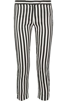 Ann Demeulemeester - Cropped Striped Satin-twill Slim-leg Pants - White - FR38