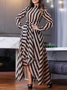 Product Elegant Striped Long Sleeve Stand Collar Maxi Dresses Brand Name streettide SKU Trendy Dresses, Elegant Dresses, Nice Dresses, Casual Dresses, Elegant Outfit, Casual Outfits, African Fashion Dresses, African Dress, Vetement Fashion