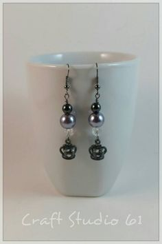 Dangle Earrings with Crowns, Haematite  Stones, Pearls and Crystal Beads $24.99