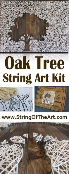 DIY Crafting String Art Kit - Oak Tree String Art, Crafts Kit, DIY Kit. Visit www.StringoftheArt.com to learn more about this beautiful DIY String Art Oak Tree and how you can easily string it together and display it inside your home. #artscraftsdiy