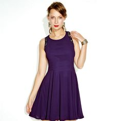 the rich eggplant color! Go ahead, do a complete turnaround— and show off this dress's flirty back panel!Bonus: The fit-and-flare silhouette is super-flattering! Avon Fashion, Fashion Deals, Fashion Beauty, Ladies Fashion, Women's Fashion, Avon Clothing, Chic Clothing, Eggplant Color, Embroidered Tunic