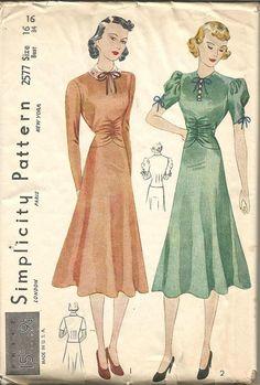 1930s Shirred Midriff Circular Skirt Dress Sleeve by kinseysue
