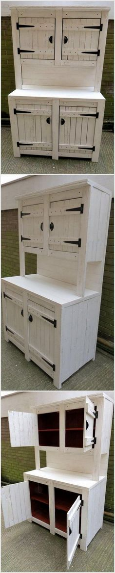 You have to make this wooden pallet furniture which contains four cabinets. You have to color it in white or any other light shade. In this furniture piece, you have to use brown color. You can use it in kitchen.