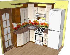 28. Эскиз угловой кухни для хрущевки  Размер 1400 мм -2100 мм
