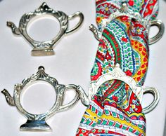 Silver Plated set of 4 Napkin Ring Holders Teapot by VintageSting