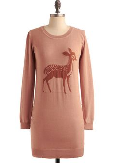 Modcloth Deer Prudence Sweater  Let the front depiction of this cautious, wide-eyed fawn gather coos and compliments while each sleeve and shoulder line boasts little round gold buttons. The best part about his top is that it's just long enough to do double duty as a tunic over leggings or as a layer of warmth over your favorite vintage jeans.