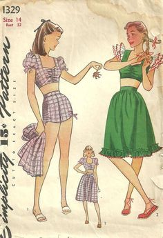 I REALLY want the plaid one as a bathing suit! @Rey Swimwear SUPER CUTE!!! ♥ ♥ ♥ Simplicity 1329 Vintage 40s Sewing Pattern door studioGpatterns, $38.50