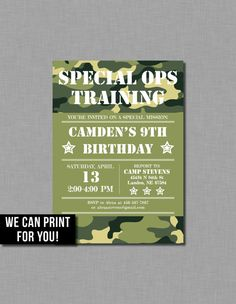 d4bf3957576839 Army Birthday Invitation party military camouflage Invitation Sizes