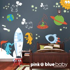 Kids Wall Decals   Outer Space Removable Wall door pinknbluebaby, $196.00