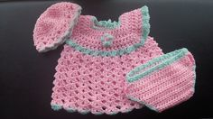 Ravelry: CraftyCat768's Pink and Green Baby Girl Set