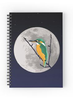 """""""Fly me to the moon"""" Spiral Notebook by Savousepate on Redbubble #spiralnotebook #notebook #digitalart #bird #kingfisher #night #moon"""