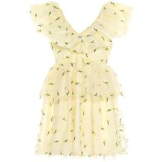 Ganni Bliss Embroidered Mesh Minidress ($825) ❤ liked on Polyvore featuring dresses, yellow, embroidered mesh dress, short embroidered dress, ganni, mesh dresses and beige short dress