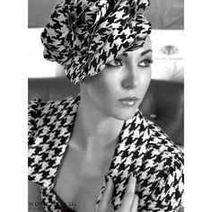 Black and White Houndstooth Hat ❤ liked on Polyvore featuring models and people