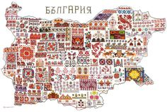 """zvetenze: """" Map of Bulgarian embroideries by Iren Velichkova Yamami """" Folk Embroidery, Embroidery Patterns, Cross Stitch Patterns, Shirt Embroidery, Travel And Tourism, Embroidery Techniques, Diy Birthday, Diy And Crafts, Needlework"""