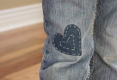 Mending Made Fun - A Mini Tutorial - super cute patching for jeans - rectangle w/red wool heart on site too - pic was too long vertically to pin well