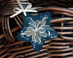 Rosemaled Ornament Christmas Star Telemark Style Rosemaling Norwegian