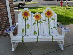 Information About Rate My Space Sunflowers Rocker, Hand built Adirondak double rocker. I hand painted the sunflowers on it, and did an original glass mosaic design on each arm. One of a kind, quality work. It is for sale., Home Decor Project Hand Painted Chairs, Painted Benches, Hand Painted Furniture, Funky Furniture, Paint Furniture, Garden Furniture, Adirondack Furniture, Painted Tables, Decoupage Furniture