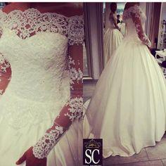 Vestido De Noiva Plus Size Off the Shoulder Vintage Wedding Dresses Lace Long Sleeve Bridal Dress Gowns Princess Satin W4007