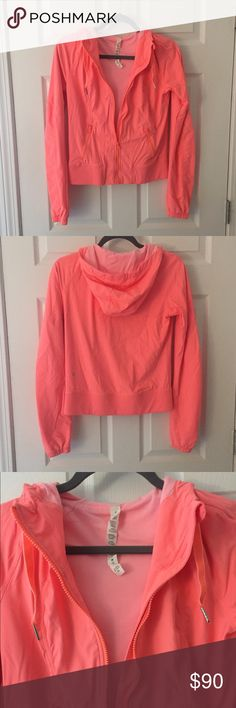 🍉SALE🍉 Lulu Street toStudio Jacket Pop Orange EUC Lululemon Street to Studio Jacket in Pop Orange. This rare color is more of a neon coral/peach -super bright and adorable! It is made with lightweight swift fabric and fully lined with and oversized drawstring hood. It has side zip pockets and is a size 4. lululemon athletica Jackets & Coats