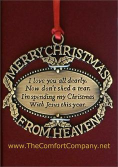 merry christmas from heaventhe perfect memorial ornament keepsake for those who have - Christmas Decorations In Memory Of A Loved One