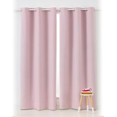 Block Out Eyelet Curtains - 1 Pair, Pink