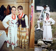 Poland: handpainted weddng dress from the region of Podhale Folk Costume, Costumes, Polish Wedding, Highlanders, Folklore, New Trends, Poland, Hand Painted, Culture