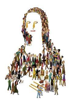 Iban Barrenetxea, Jacobo Muñiz and Valeria Gallo illustrated their personal Gioconda Juan Palomino, Appropriation Art, Mona Lisa Parody, Mona Lisa Smile, Art Jokes, Paper Collage Art, Exotic Art, Famous Artwork, Surrealism Painting