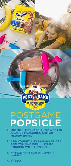 Looking for creative, nutritious ideas for a post-game snack? Look no further than these easy-to-make Postgame Popsicles from Nesquik. Plus, with 7 essential vitamins and minerals, you can have confidence that your children are getting the nutrition they need! Make this delicious and nutritious recipe using Nesquik, freeze and then bring to your child's game!  Recipe inspired by @stephaniesclark