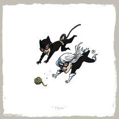Catwoman and Black Cat Marvel vs. DC: Little Friends by Darren Rawlings Marvel Vs, Black Cat Marvel, Mega Man, Teen Titans, Power Rangers, Geeks, Comic Books Art, Comic Art, Fan Art
