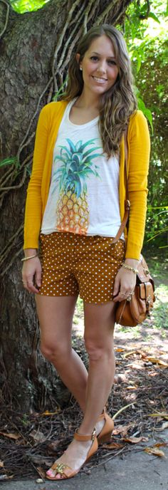 15 Color Combos to Try This Summer mustard and camo shorts color combination