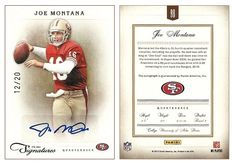 Joe Montana 2011 Panini Prime Signatures 98 Autograph (#12/20)