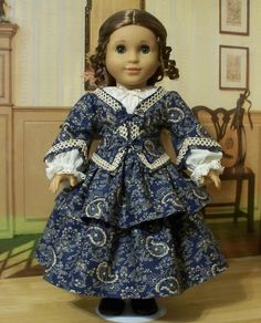 "1853 3pc. Paisley Ensemble of Jacket, Skirt, and Chemise  - Made to Fit 18"" American Girl Doll Cecile or Marie-Grace. $164.49, via Etsy."