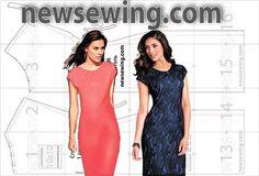 Готовая выкройка платья из тонкого трикотажа Dress pattern for lightweight jersey, EU sizes 84-88(bust)/92-96(bust)
