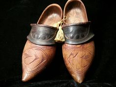 Antique Wooden Leather Clogs Dutch Wood Shoes Folk Art