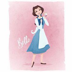 Disney Belle Illustration - by another view - Disney - Disney Characters Disney Pixar, Arte Disney, Disney Fan Art, Disney And Dreamworks, Disney Love, Disney Magic, Disney Characters, The Aristocats, Disney Belle