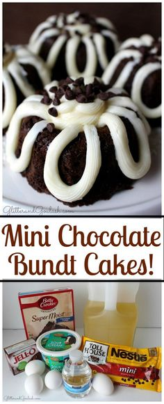 Mini Chocolate Bundt Cake This is the richest and most moist chocolate bundt cake that you will ever have! Loaded with chocolate chips and topped with cream cheese frosting. The perfect make ahead Valentines Day dessert. Mini Desserts, Just Desserts, Delicious Desserts, Dessert Recipes, Plated Desserts, Mini Dessert Cups, Small Desserts, Healthy Desserts, Tiramisu Dessert