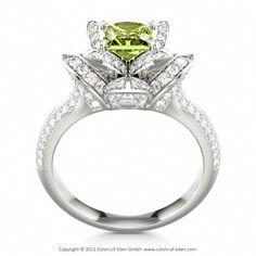 Peridot Engagement Ring LOTUS BLOSSOM ROYAL PRINCESS #peridot #engagement #ring