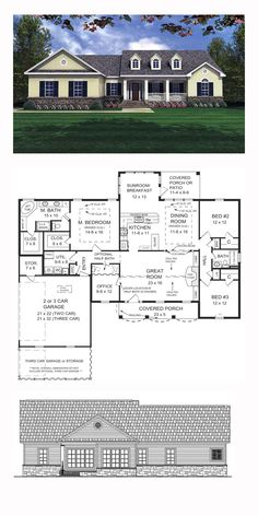 Country House Plan 59023 | Total Living Area: 2001 sq. ft., 3 bedrooms and 2 bathrooms. #countryhome
