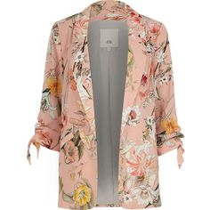 River Island Pink floral ruched sleeve blazer ($120) ❤ liked on Polyvore featuring outerwear, jackets, blazers, blazer, coats / jackets, pink, women, 3/4 sleeve jacket, blazer jacket and pink jacket