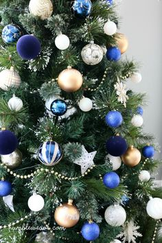 blue gold and ivory christmas tree humbleweave christmastree bluechristmastree goldchristmastree - Navy Blue Christmas Decorations