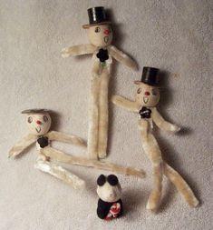 3 Vintage Pipe Cleaner Chenille Christmas Snowmen w Spun Cotton Faces Japan | eBay
